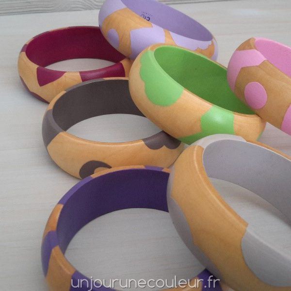 Bracel'Abstrait : bracelet en bois peint - petite taille