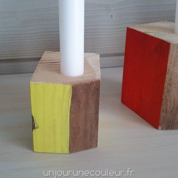 Bougeoir en bois recyclé cube