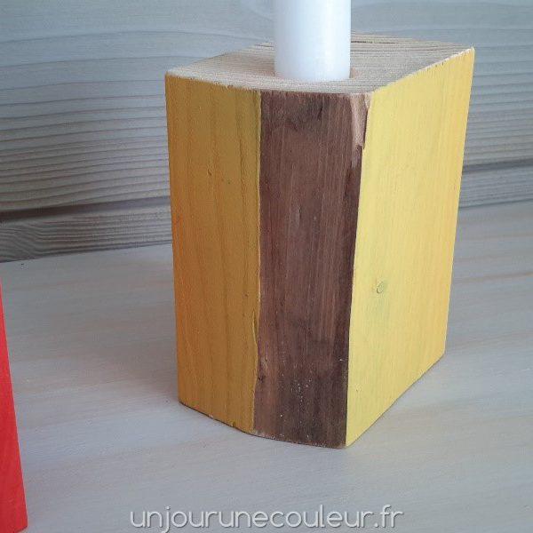 Bougeoirs Cubic en bois recyclé peint à la main