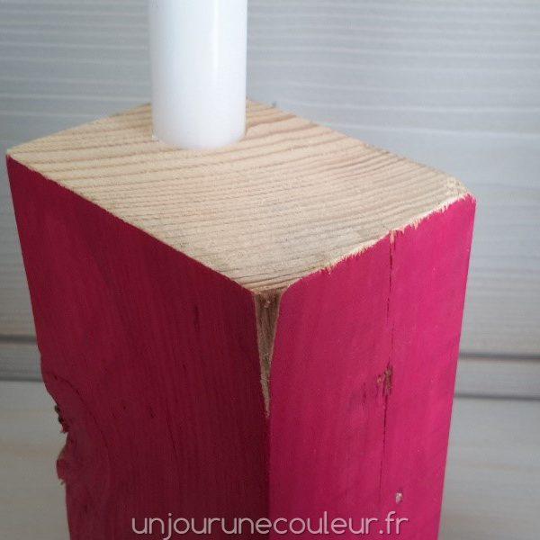 Bougeoir Cubic rose en bois recyclé