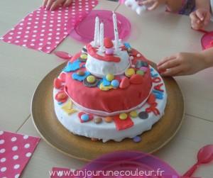 belles couleurs pour un gâteau de princesse