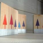 Peinture sur bois sapins stylisés