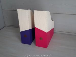 Boites à archives en bois peintes à la main