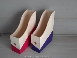 Boites de rangement pour le bureau violet et rose