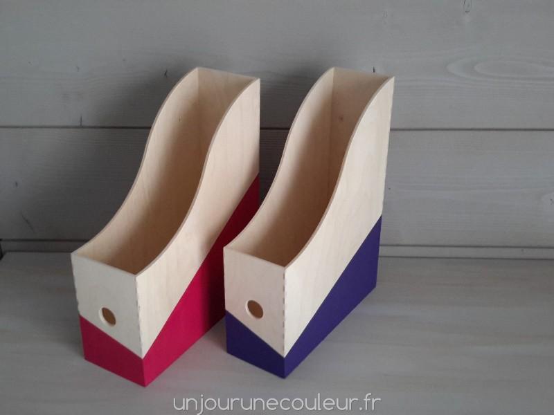 De la couleur au bureau les boites à archives en bois peintes à