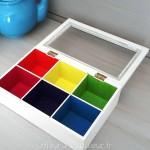 Les couleurs à l'intérieur de la boîte à thé