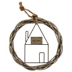 Couronne saule et maisonnette tiges métalliques et plaquette de bois, message welcome
