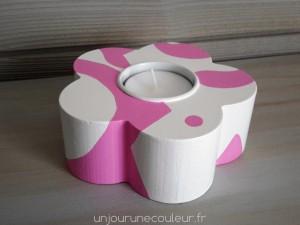 Support à bougie chauffe-plat décoratif rose
