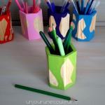 Pot à crayon design vert et bois