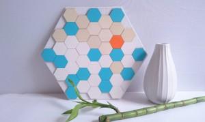 Sojazz : tableau décoratif en bois peint turquoise blanc orange