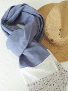 Victoire-et-Lilie : Echarpe en Lin mauve et coton imprimé