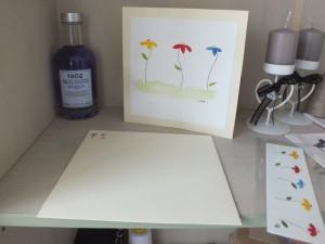 Zaboujanin : Carte double peinte à l'aquarelle et enveloppe assortie