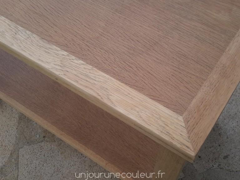 une table basse en ch ne patin e peinture l 39 essuy un jour une couleur. Black Bedroom Furniture Sets. Home Design Ideas