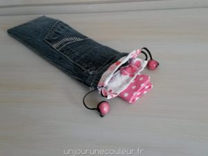 Pochette à couverts en jean recylcé avec poche