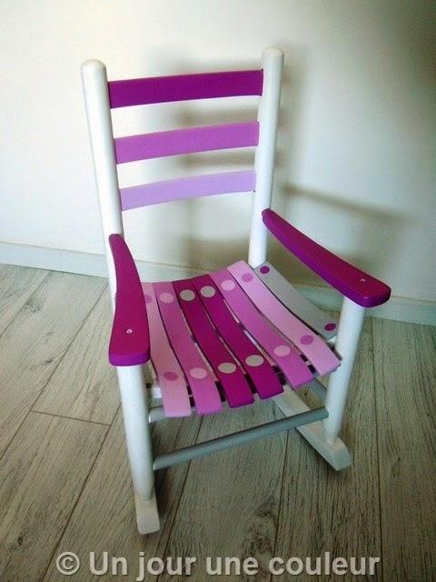 chaise à bascule pour enfant - rose et gris