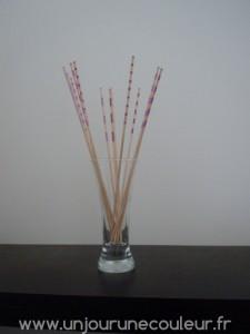 Bâtonnets déco en bouquet éternel dégradé de rose