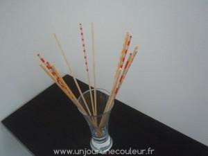Bouquet de bâtonnets rouge, orange et jaune