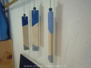 Décorations à suspendre en bois de récupération