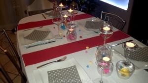 Verres retournés et bougies pour une décoration de table colorée