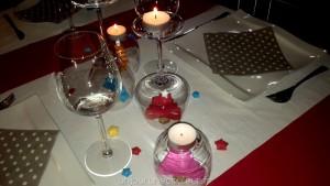Décoration de table verres à l'envers