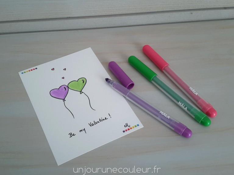 Carte à colorier Saint-Valentin coeurs ballons