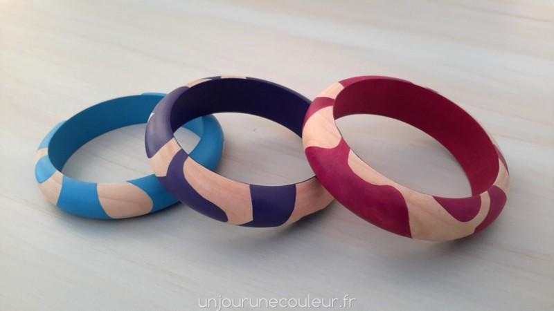 Bracelets en bois peint