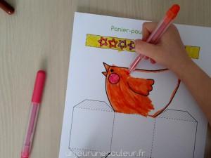 colorier panier poulette de Pâques