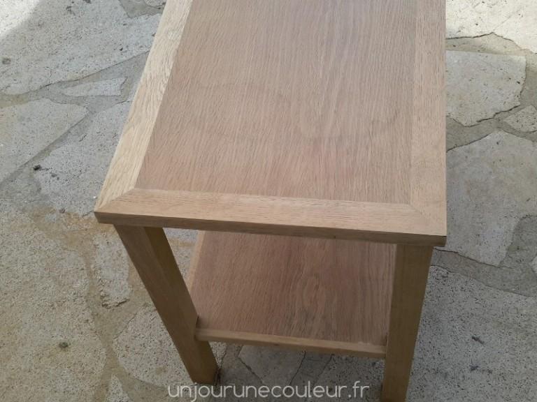 Table basse en chêne poncée et nettoyée