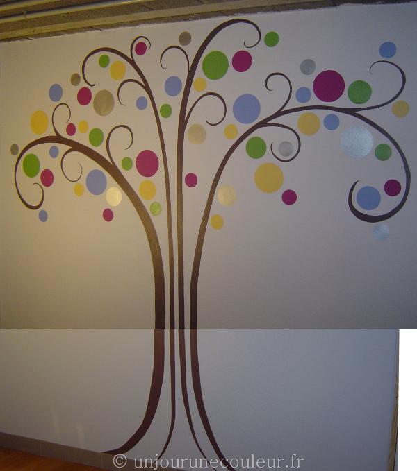 arbre peinture mur vue d'ensemble