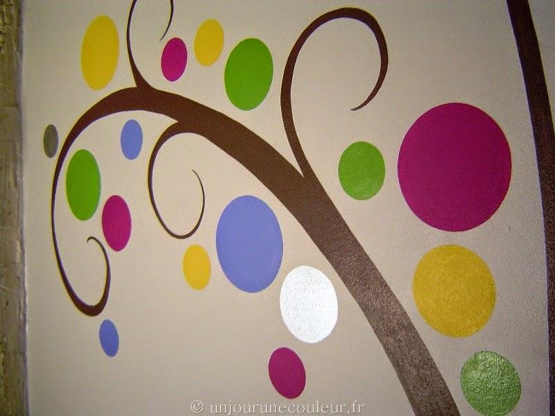 détail branche peinte taupe feuilles rondes